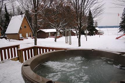 outdoor hottub in winter