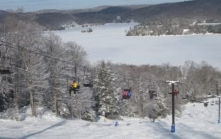 ski lift and lake